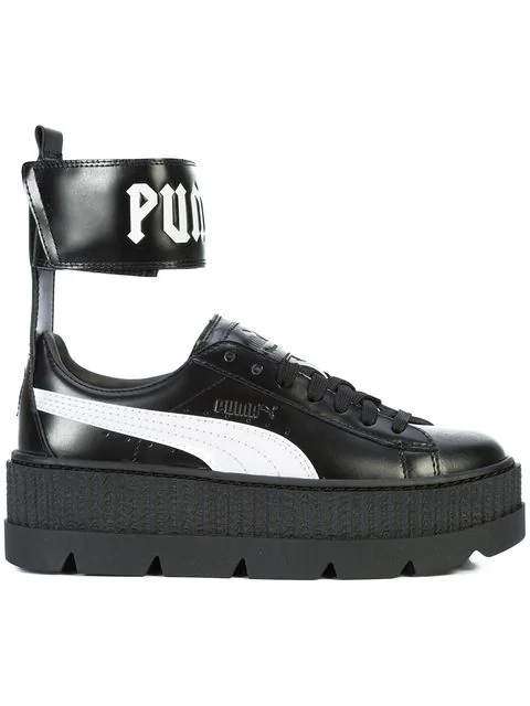 competitive price ff9df 41445 Fenty Puma X Rihanna Women's Leather Ankle Strap Platform Sneakers in Black