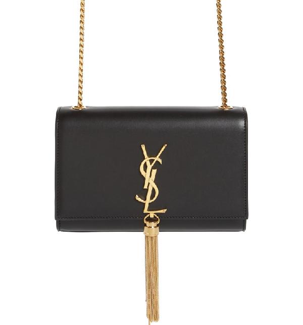 4f7c4594f04 Kate Monogram Ysl Small Tassel Shoulder Bag With Golden Hardware in Nero