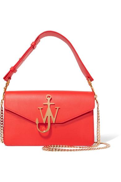Jw Anderson Logo Leather Shoulder Bag In Red