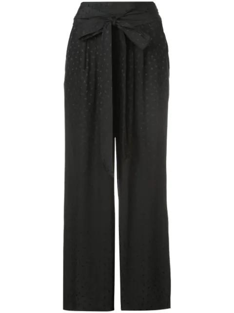 Rebecca Taylor Silk Jacquard Tie Waist Pants In Black