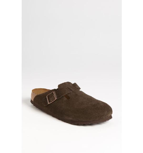 Birkenstock 'Boston' Soft Footbed Clog (Women) In Mocha Suede
