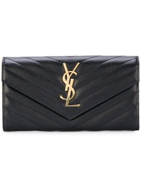 bd33dbf9b63 Saint Laurent Monogram Large Flap Wallet In Grain De Poudre Embossed Leather  In Black