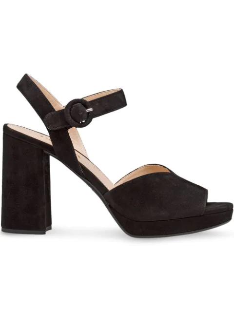 Prada Suede Platform 95Mm Sandals In Black