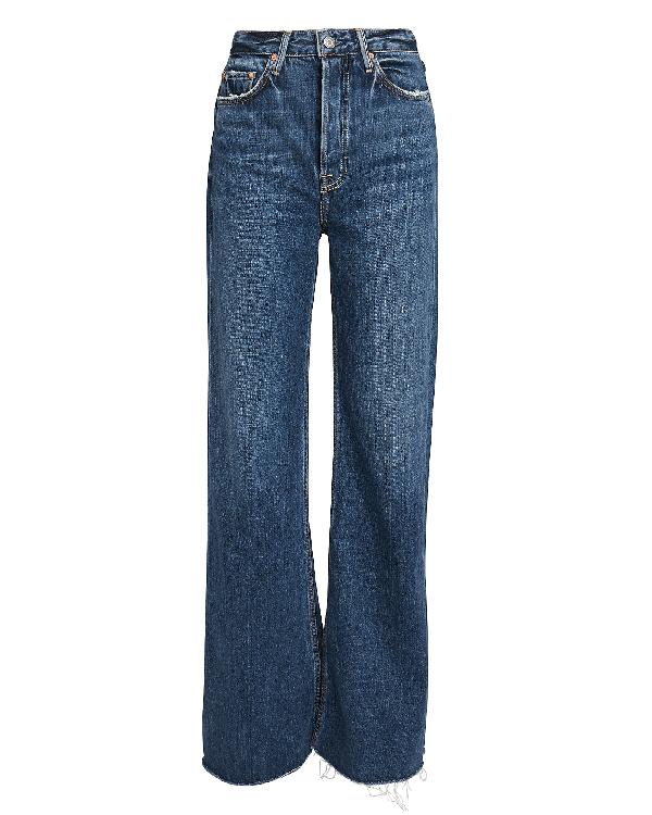 f5ecf15e2cd Grlfrnd Carla Super High-Rise Wide Leg Jeans Dark Blue Denim