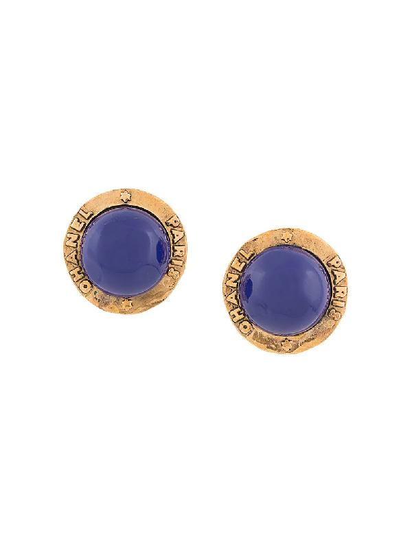 fb09dd818ed9 Chanel Vintage Vintage Cc Logos Stone Earrings - Gold | ModeSens