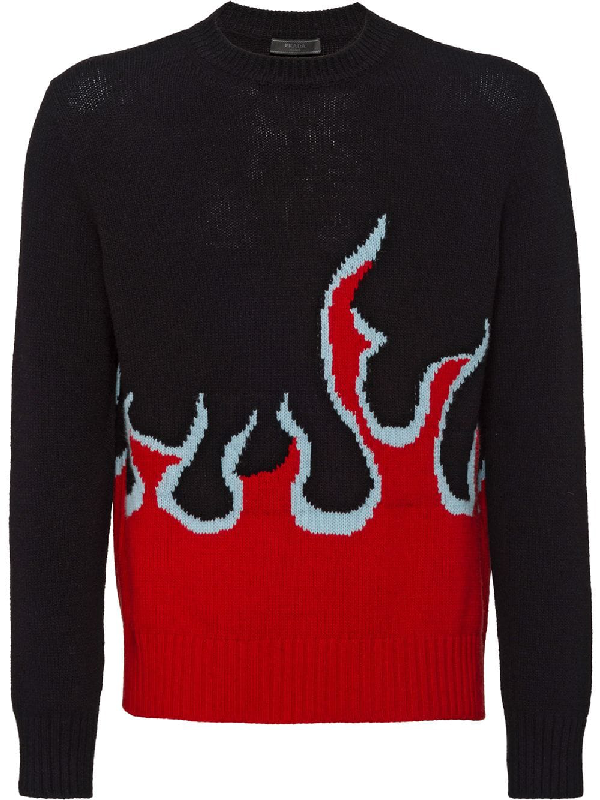3a59dc903539 Prada Flame Intarsia Sweater - Black | ModeSens