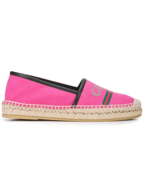 Gucci Leather-Trimmed Logo-Print Canvas Espadrilles In Pink