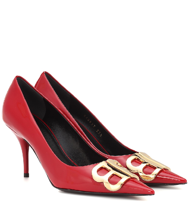 Balenciaga Bb D'Orsay Patent Leather Pumps In Red