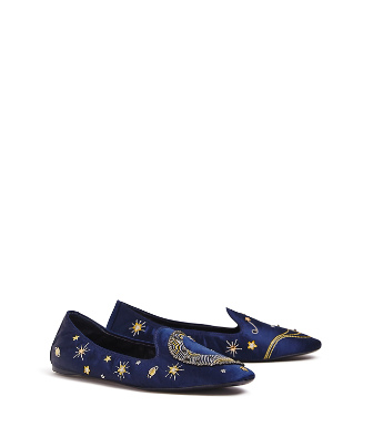 Tory Burch Olympia Embroidered Smoking Loafers In Blue