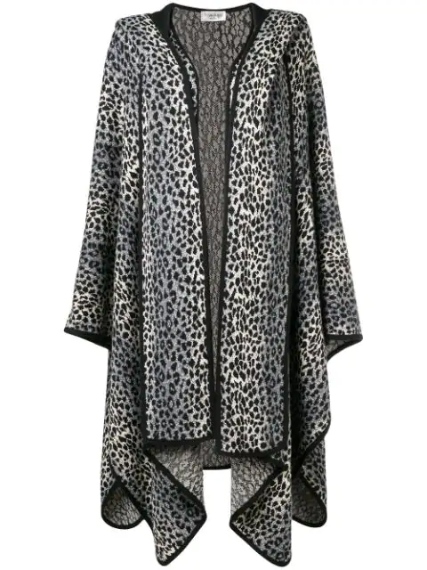Pre-owned Saint Laurent 1980's Animal Print Poncho In Grey
