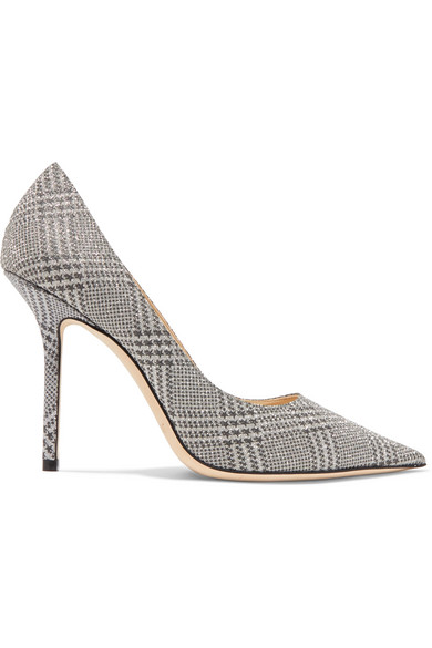 Jimmy Choo Women's Love 100 Pointed Toe Checkered Pumps In Silver