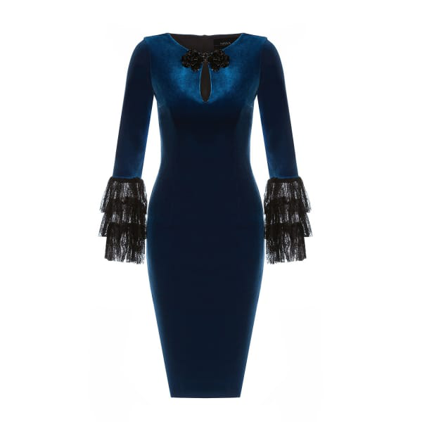 Nissa Bodycon Dress With Lace Details On The Sleeves