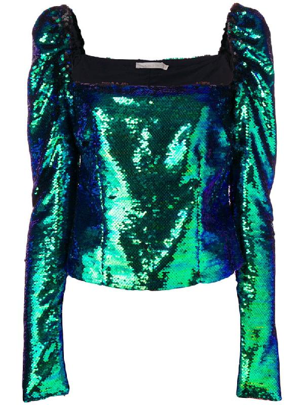 a5d09ccb3740 Amen Sequin Embellished Top - Green | ModeSens
