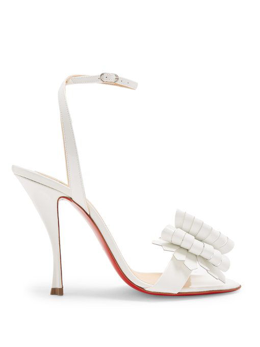 c689618b2d63 Christian Louboutin Miss Valois 85 Patent-Leather Sandals In White ...