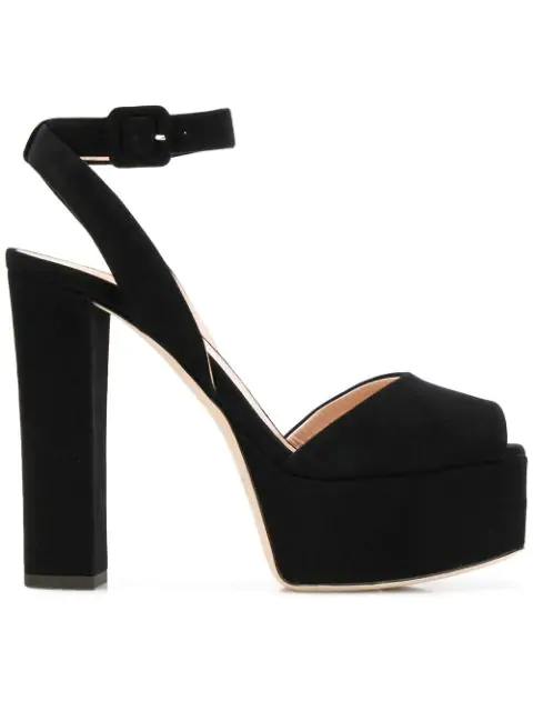 Giuseppe Zanotti Betty Black Suede Platform Sandals In 061-Nero