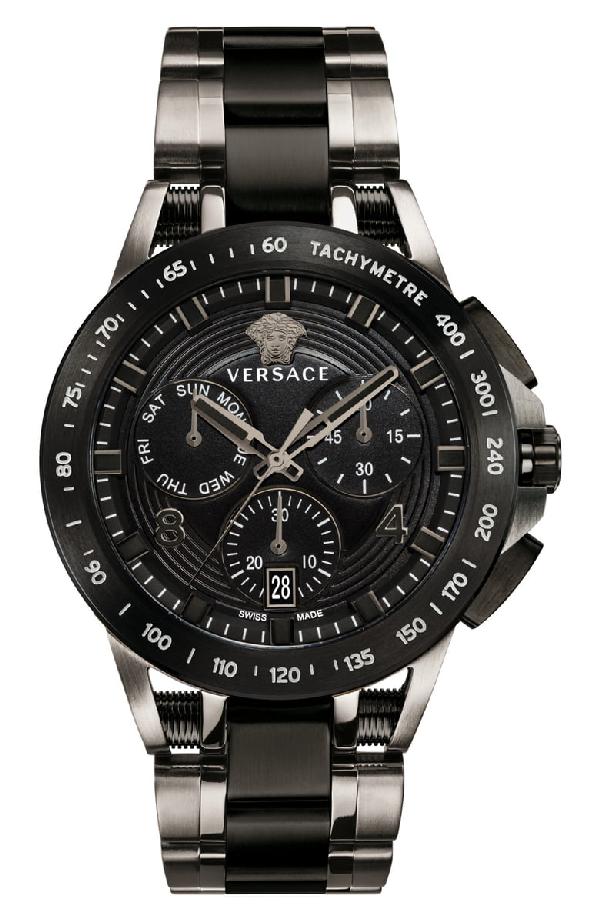 91fe9fc5008b7 Versace Men's 45Mm Sport Tech Chronograph Watch, Black/Gray In Gunmetal/  Black