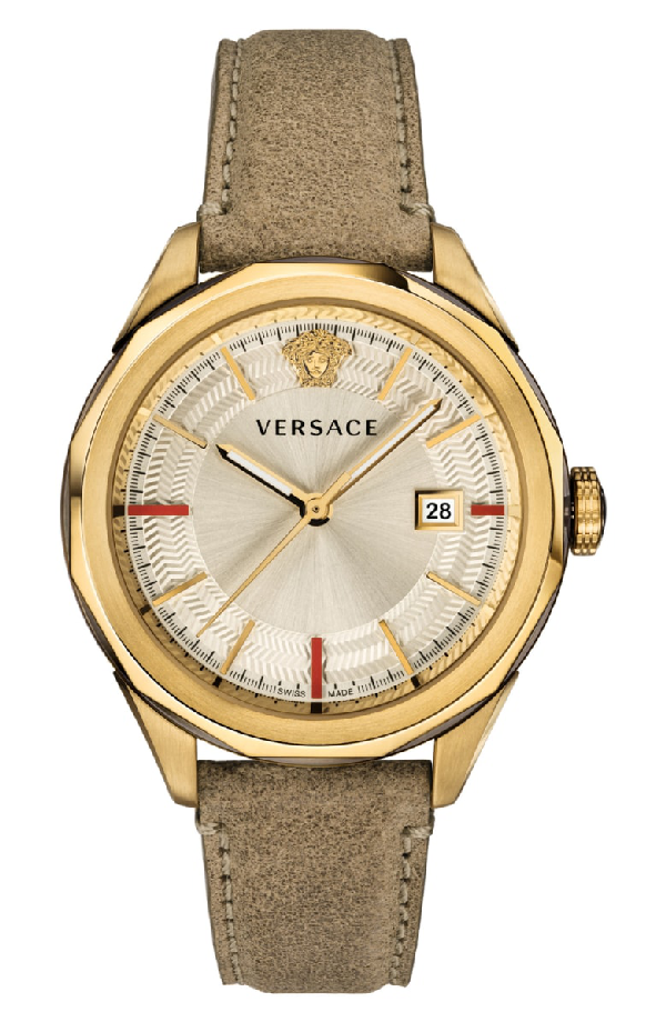 Versace Collection Glaze Beige Leather Watch, 43Mm In Brown/ Gold