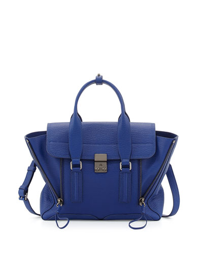 3.1 Phillip Lim Pashli Medium Leather Satchel Bag, Feather In Blue