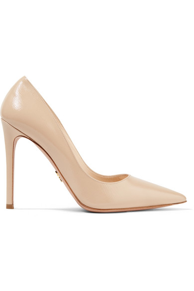 Prada Leather Pointed-Toe 85Mm Pump In Neutral