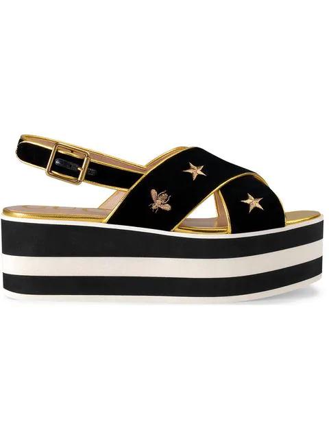 Gucci Leather-Trimmed Embroidered Velvet Platform Sandals In Black