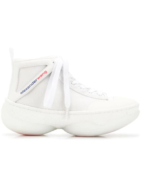Alexander Wang A1 Logo-Print Leather-Trimmed Mesh High-Top Sneakers In White
