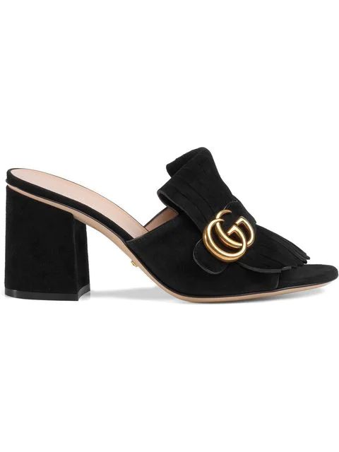 Gucci Marmont Fringed Logo-Embellished Suede Mules In Black