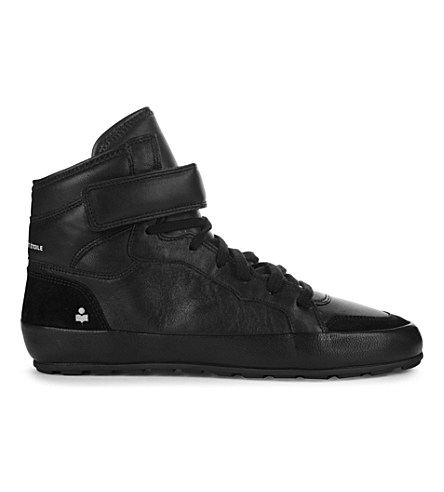 Isabel Marant Bessy Leather And Suede High-Top Trainers In Black
