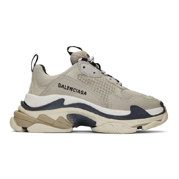 Balenciaga Triple S Logo-Embroidered Leather, Nubuck And Mesh Sneakers In Gray