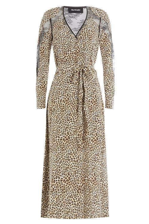 The Kooples Animal Printed Silk Dress With Lace