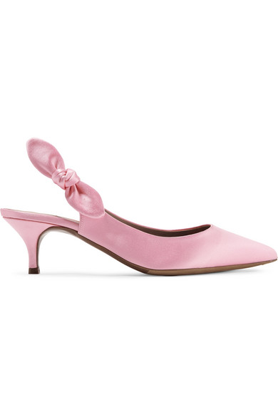 af5c59088 Tabitha Simmons Rise Bow-Embellished Satin Slingback Pumps In Baby Pink