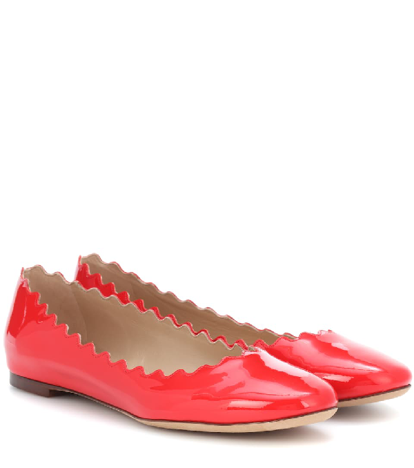 aefbd3faa ChloÉ 'Lauren' Scalloped Patent Leather Ballerina Flats In Red ...