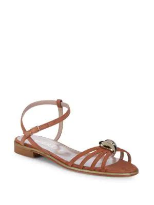 Aperlai Brooch Ankle-strap Sandals In Beige