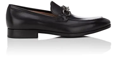 Salvatore Ferragamo Men's Benford Gancini-Bit Leather Loafer In Black