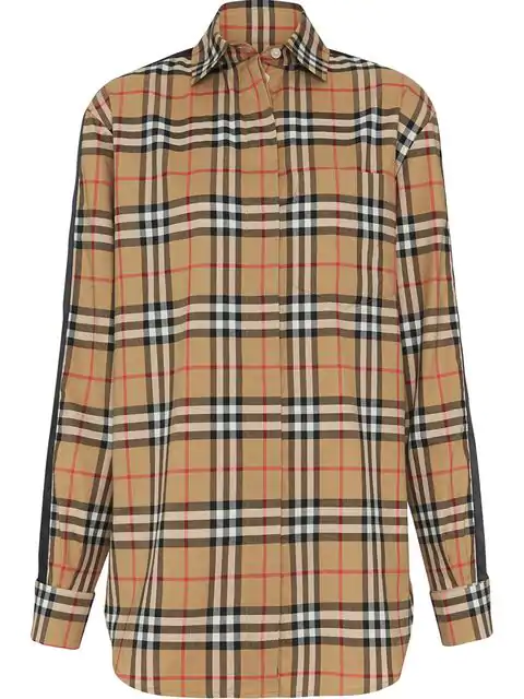Burberry Saorise Vintage Check Satin-striped Sleeve Shirt In Brown