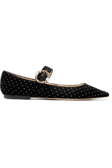 be29879c5b4 Jimmy Choo Gianna Flat Black Glitter Spotted Velvet Pointy Toe Flats ...