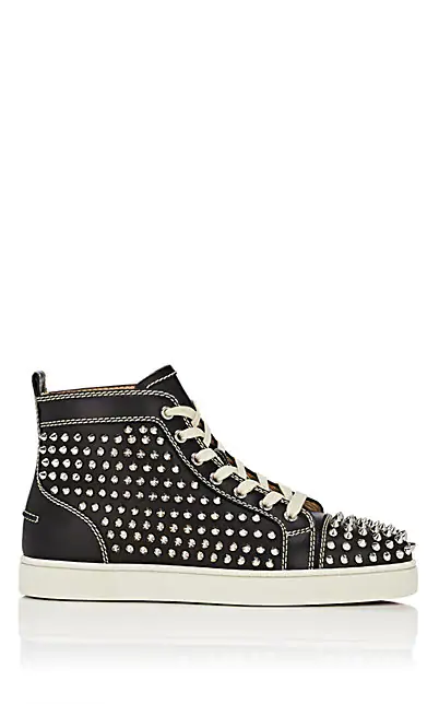 Christian Louboutin Men's Louis Mid-Top Spiked Leather Sneakers In Black