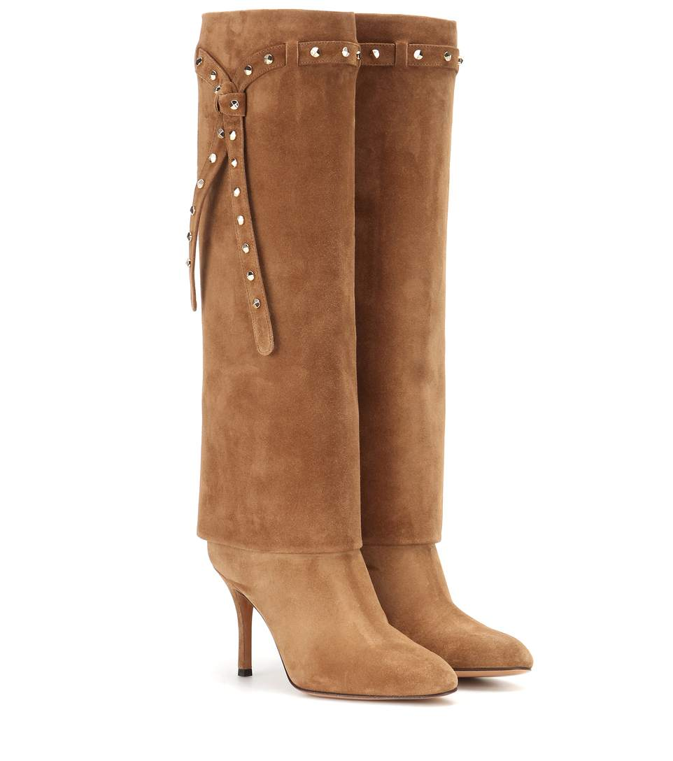 Valentino Punky-Ch Knee-High Suede Boots In Camel-Brown