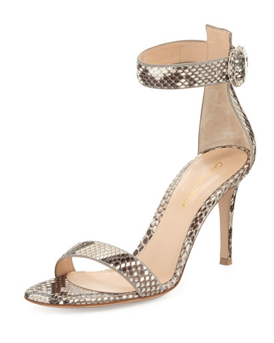 Gianvito Rossi Python Ankle-Wrap Skinny Sandal In Natural