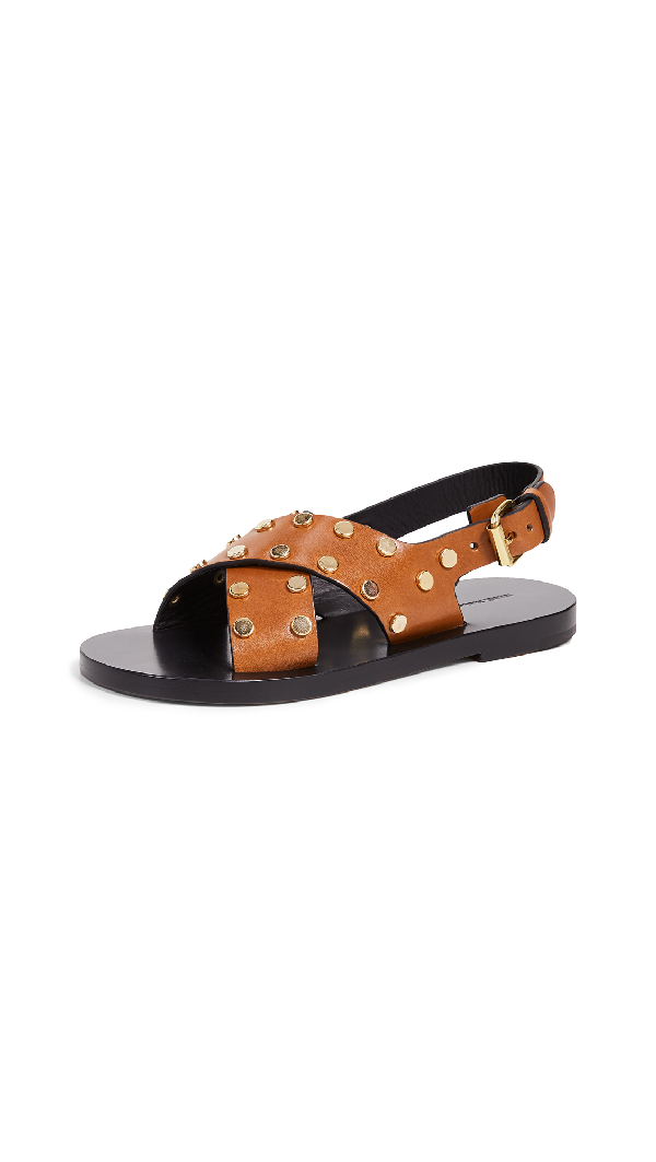 a0550e1c115 Isabel Marant Jane Stud-Embellished Leather Sandals In Cognac | ModeSens