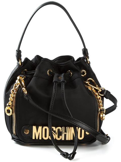 Moschino Mini Logo Lettering Nylon Bucket Bag, Black