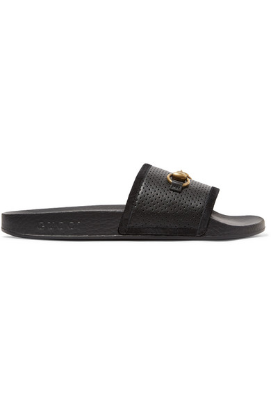55b1b8dd3e65c Gucci Pursuit Horsebit-Detailed Perforated Rubber Slides In Black. GUCCI