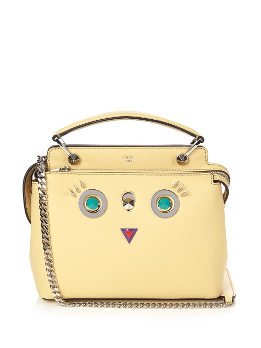 Fendi Dotcom Petite Embellished Leather Shoulder Bag In Yellow ... 7f4a12992244e