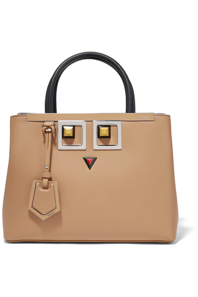 d4c48649d501 Fendi 2Jours Petite Embellished Leather Shopper In Neutrals
