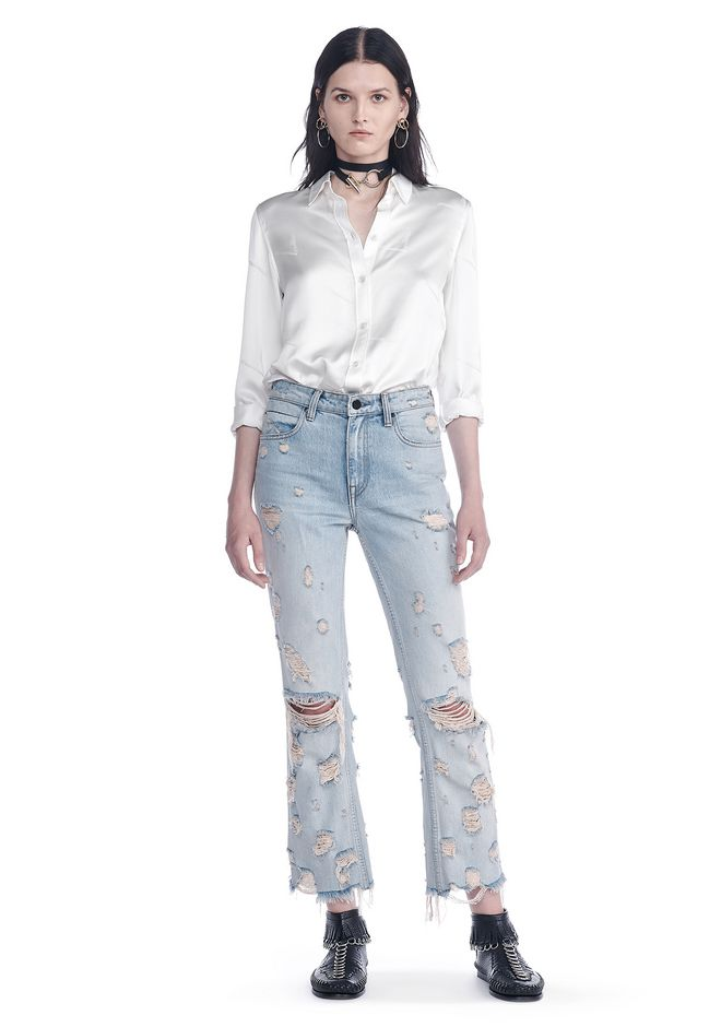 89fb3fae3 Alexander Wang Silk Button-Up Shirt With Cigarette Jacquard In White ...