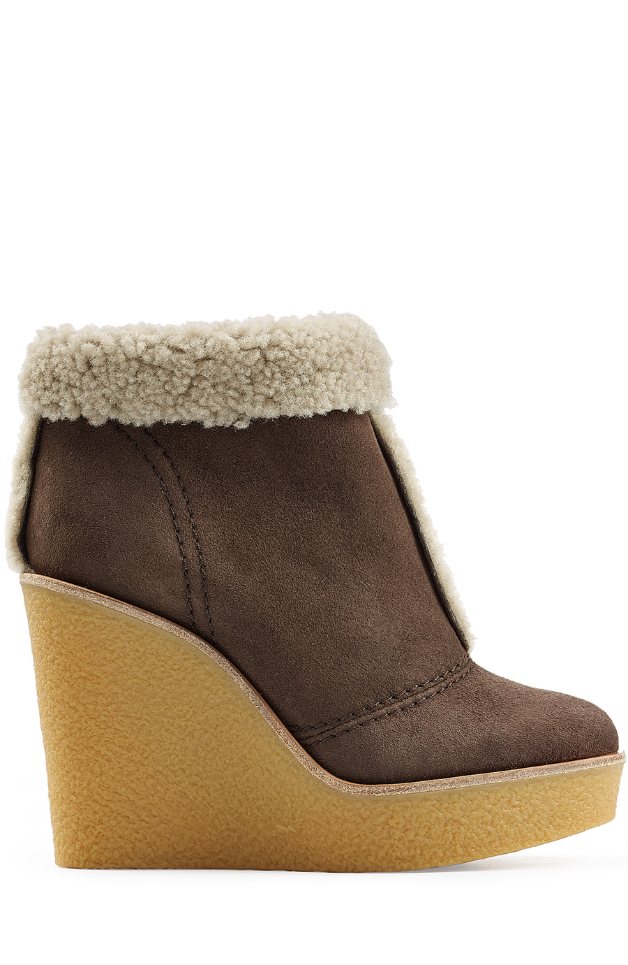 ChloÉ Shearling-Lined Suede Wedge Ankle Boots In Dark Brown