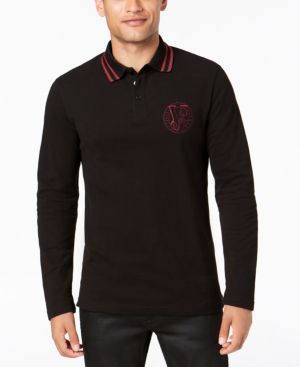 Versace Men's Long-Sleeve Logo Polo In Black
