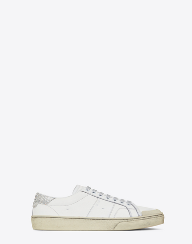 01b290f596c Saint Laurent Signature Court Classic Sl/37 Surf Sneaker In Off White  Distressed Leather And