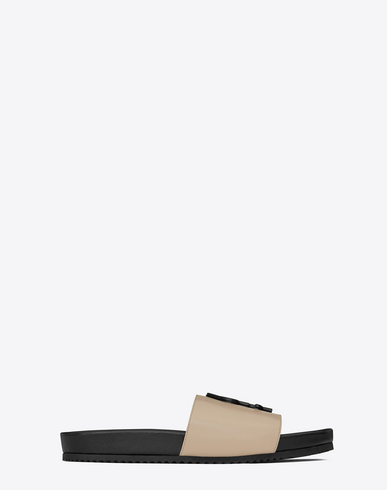 9cae118b3 Saint Laurent Joan 05 Slide Sandal In Powder And Black Leather In Beige