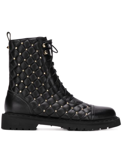 Valentino Rockstud Spike Quilted-leather Ankle Boots In Black