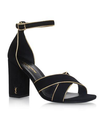 6ac0e89dc4e9 Saint Laurent Babies Metallic-Trimmed Suede Block Heel Sandals In Noir  Camel
